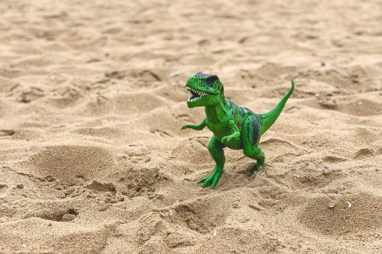 Dinosauro giocattolo in spiaggia